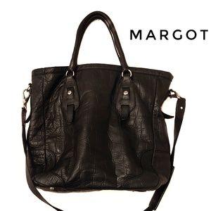 Margot Black Leather Crossbody Work Tote